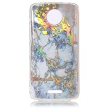 For Motorola Moto C Grey Gold Marble Pattern Soft TPU Protective Back Cover Case