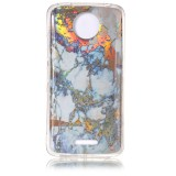 For Motorola Moto C Plus Grey Gold Marble Pattern Soft TPU Protective Back Cover Case