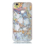 Huawei P8 Lite (2017) Grey Gold Marble Pattern Soft TPU Protective Back Cover Case