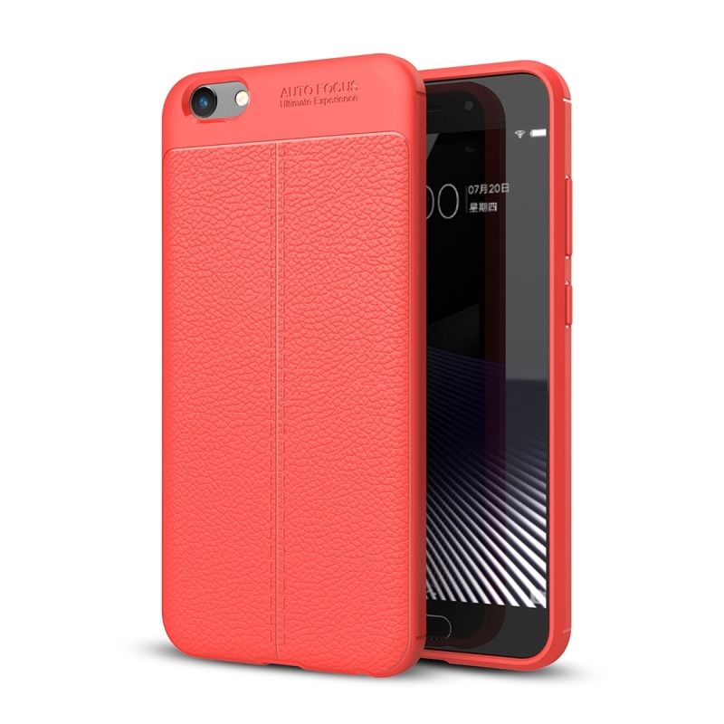 newest 86ab7 07ef1 Vivo Y69 Litchi Texture Full Coverage TPU Protective Back Cover Case (Red)