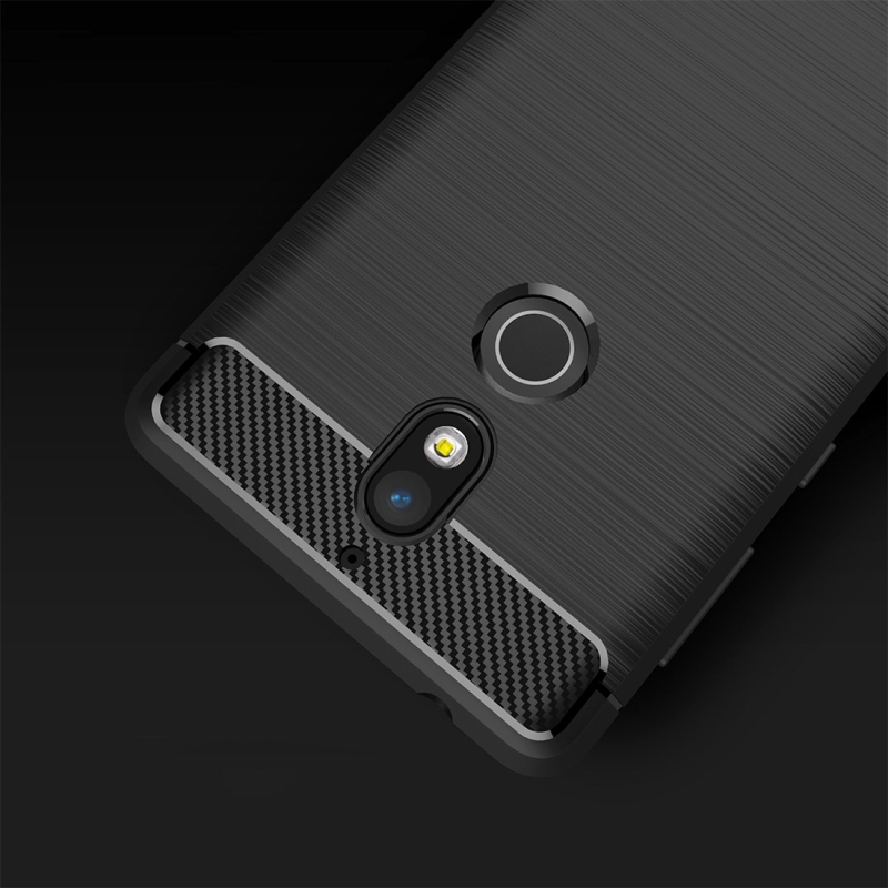 For Nokia 7 Brushed Carbon Fiber Texture TPU Shockproof Anti-slip Soft Protective Back Cover Case (Red)