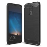 Huawei Mate 10 Lite Brushed Carbon Fiber Texture TPU Shockproof Anti-slip Soft Protective Back Cover Case (Black)