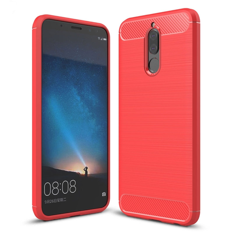 Huawei Mate 10 Lite Brushed Carbon Fiber Texture TPU Shockproof Anti-slip Soft Protective Back Cover Case (Red)