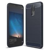Huawei Maimang 6 Brushed Carbon Fiber Texture TPU Shockproof Anti-slip Soft Protective Back Cover Case (Navy Blue)