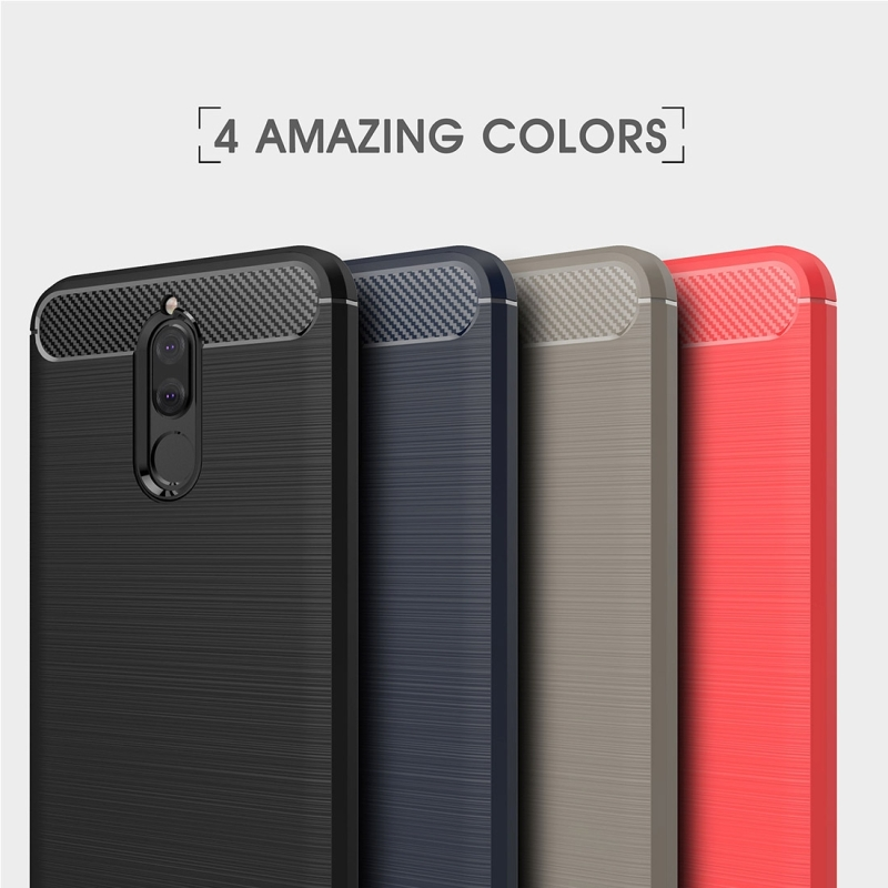 Huawei Maimang 6 Brushed Carbon Fiber Texture TPU Shockproof Anti-slip Soft Protective Back Cover Case (Red)