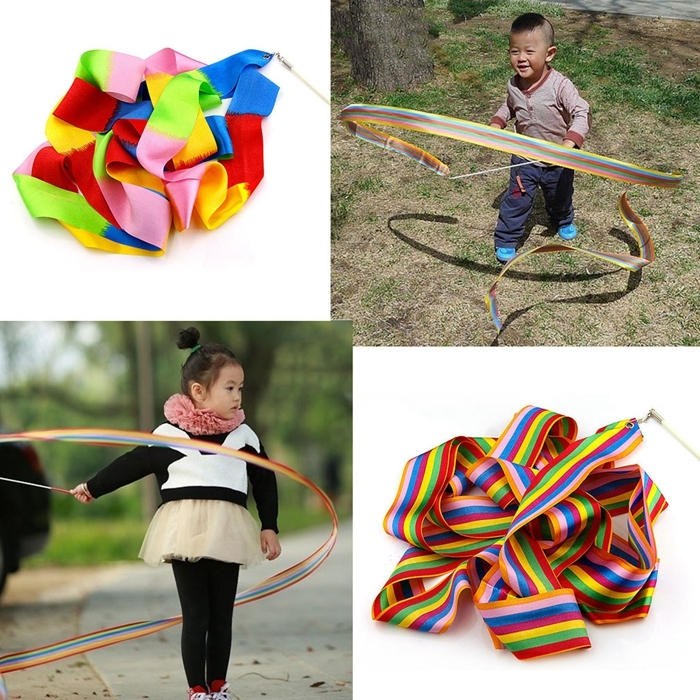 5 PCS 4m Colorful Children Toy Dancing Practices Dance Ribbons with Sticks