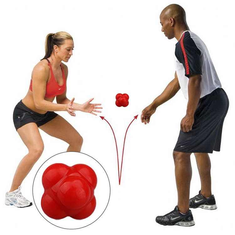 Hexagonal Reaction Ball Quickness and Agility Training Ball, Training Hand and Eye Coordination (Red)