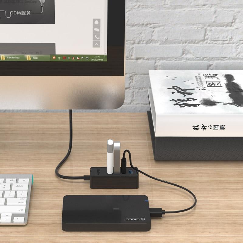ORICO W5P-U3-30 4-Port USB 3.0 Desktop HUB with 30cm Micro USB Cable Power Supply (Black)