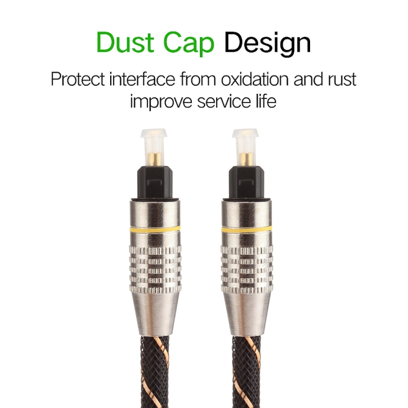 Optical Cables 1.5m OD6.0mm Gold Plated Metal Head Woven Line Toslink Male to Male Digital Optical Audio Cable