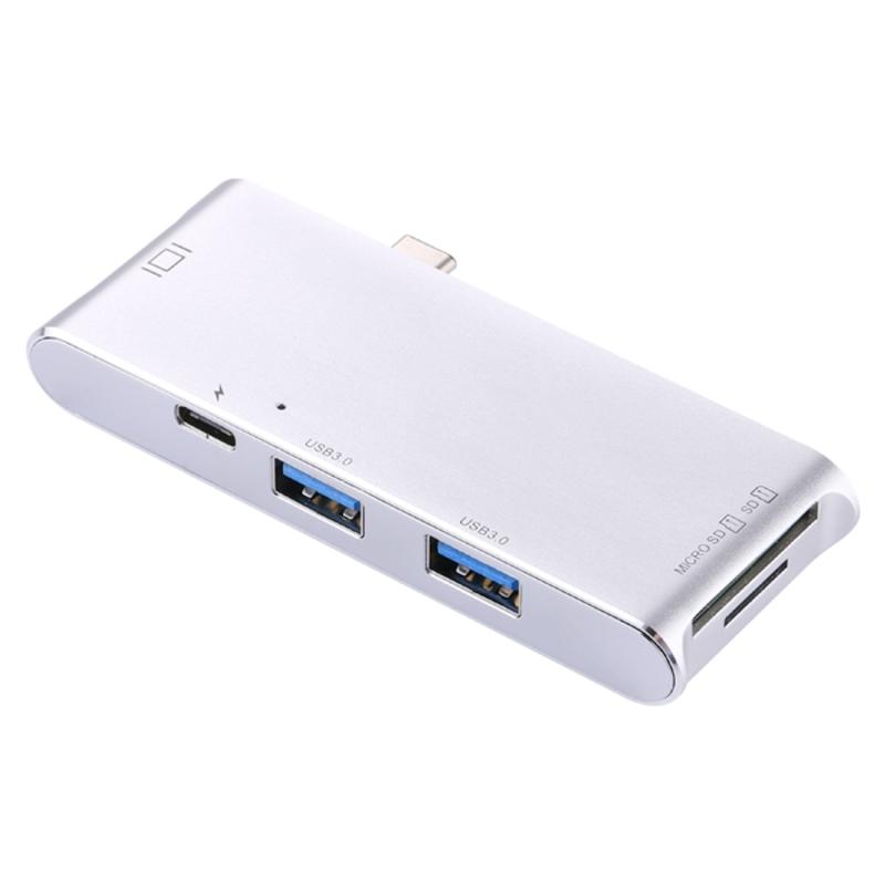 USB-C / Type-C to HDMI & RJ45 & 2 x USB 3.0 & SD & Micro SD Card Reader Adapter HUB with USB-C / Type-C Charging, For Macbook / New Macbook Pro / Huawei Matebook