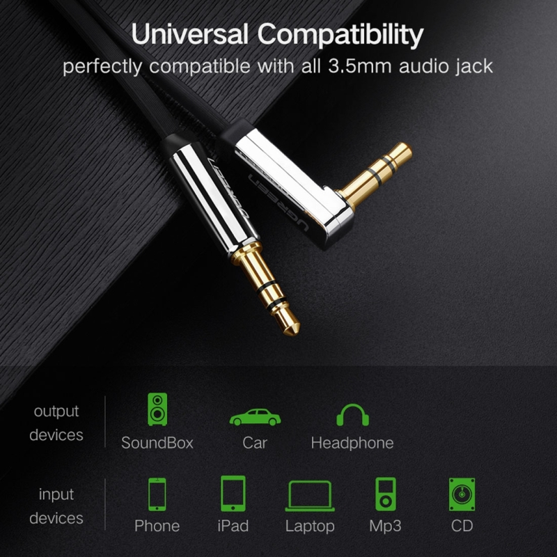 Ugreen 3.5mm Male to 3.5mm Male Elbow Audio Connector Adapter Cable Gold-plated Port Car AUX Audio Cable, 0.5m