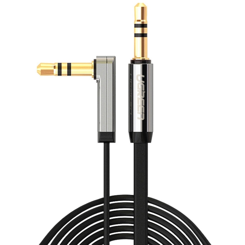 Ugreen 3.5mm Male to 3.5mm Male Elbow Audio Connector Adapter Cable Gold-plated Port Car AUX Audio Cable, 2m
