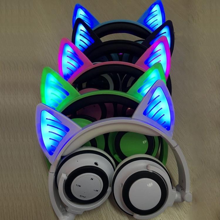 Foldable Wireless Bluetooth V4 2 Glowing Cat Ear Headphone