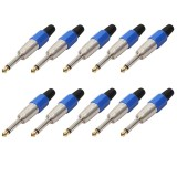 10 PCS 6.35 Gold-plating Mono Microphone Audio Plug