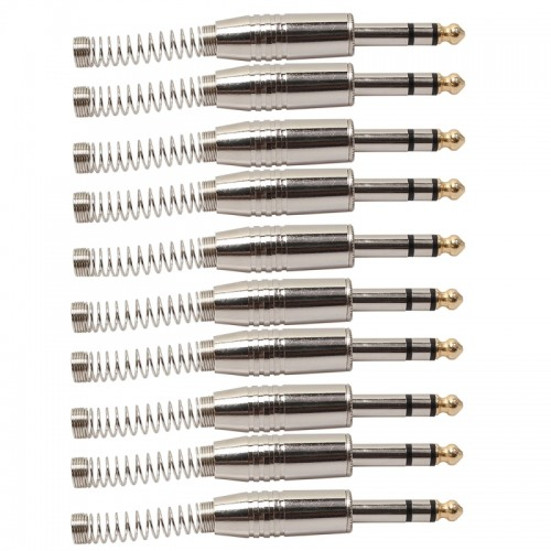 10 PCS 6.35mm Metal Audio Plug Stereo Microphone Cord Plug