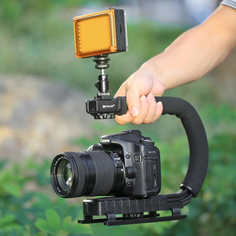 PULUZ U/C Shape Portable Handheld DV Bracket Stabilizer + LED ...