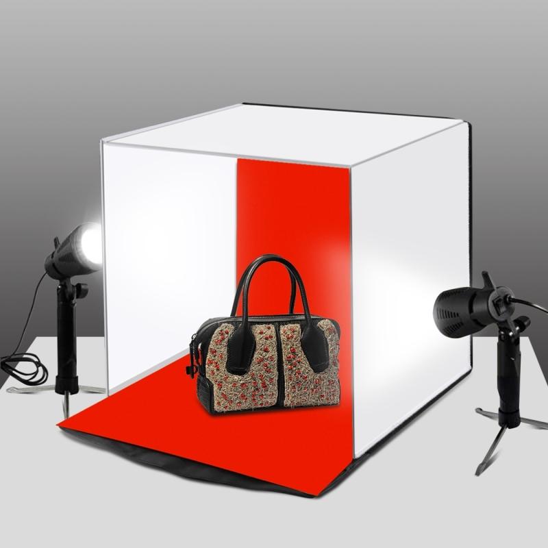 PULUZ 40cm Photo Softbox Portable Folding Studio Shooting Tent Box Kits with 5 Colors Backdrops (Red, Orange, Blue, White, Black), 40cm x 40cm x 40cm