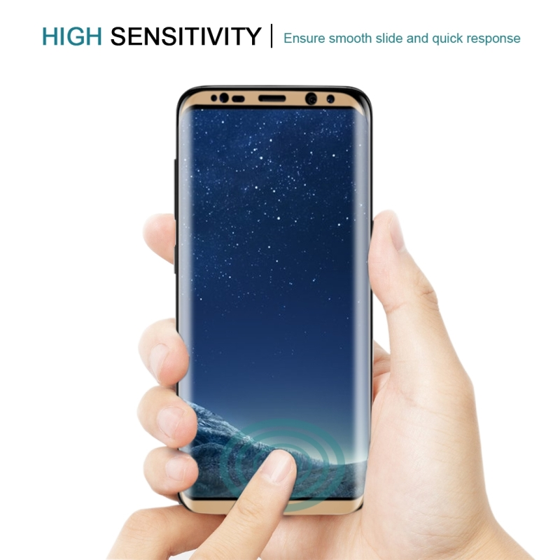 For Samsung Galaxy S8 / G950 0.3mm 9H Surface Hardness 3D Curved Silk-screen Full Screen Tempered Glass Screen Protector (Gold)