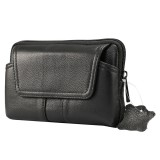 6.0 inch and Below Universal Genuine Leather Men Horizontal Style Case Waist Bag with Belt Hole For iPhone, Samsung, Sony, Huawei, Meizu, Lenovo, ASUS, Oneplus, Xiaomi, Cubot, Ulefone, Letv, DOOGEE, Vkworld, and other (Black)