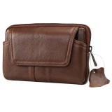 6.0 inch and Below Universal Genuine Leather Men Horizontal Style Case Waist Bag with Belt Hole For iPhone, Samsung, Sony, Huawei, Meizu, Lenovo, ASUS, Oneplus, Xiaomi, Cubot, Ulefone, Letv, DOOGEE, Vkworld, and other (Coffee)