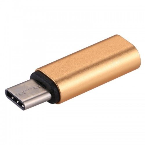 8 Pin Female to USB-C / Type-C Male Metal Shell Adapter, For Samsung Galaxy S8 & S8 + / LG G6 / Huawei P10 & P10 Plus / Oneplus 5 / Xiaomi Mi6 & Max 2 and other Smartphones (Gold)
