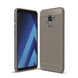 For Samsung Galaxy A5 (2018) Brushed Carbon Fiber Texture TPU Shockproof Anti-slip Soft Protective Back Cover Case (Grey)