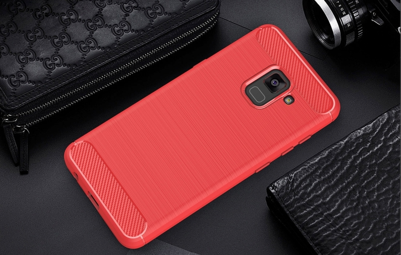 For Samsung Galaxy A5 (2018) Brushed Carbon Fiber Texture TPU Shockproof Anti-slip Soft Protective Back Cover Case (Red)