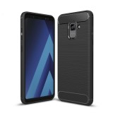 For Samsung Galaxy A7 (2018) Brushed Carbon Fiber Texture TPU Shockproof Anti-slip Soft Protective Back Cover Case (Black)