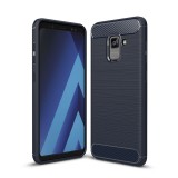 For Samsung Galaxy A7 (2018) Brushed Carbon Fiber Texture TPU Shockproof Anti-slip Soft Protective Back Cover Case (Navy Blue)