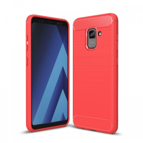 For Samsung Galaxy A7 (2018) Brushed Carbon Fiber Texture TPU Shockproof Anti-slip Soft Protective Back Cover Case (Red)