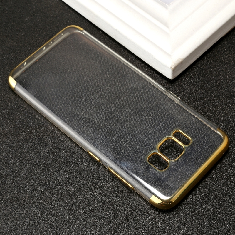 For Samsung Galaxy S8 Three Sections Electroplating Side TPU Protective Back Cover Case (Gold)