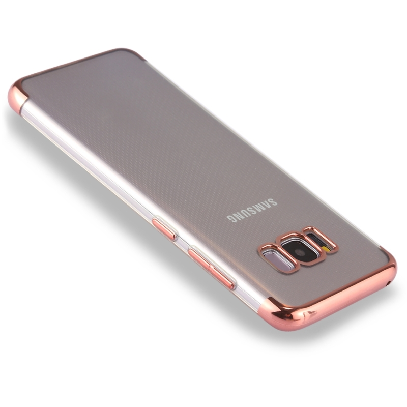 For Samsung Galaxy S8 Three Sections Electroplating Side TPU Protective Back Cover Case (Rose Gold)