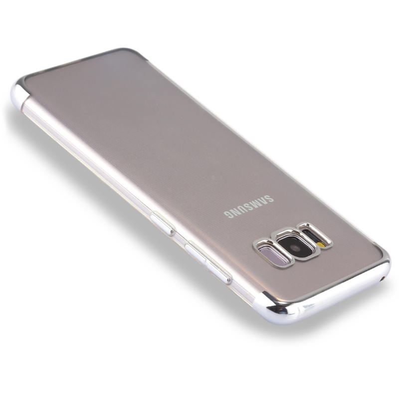 For Samsung Galaxy S8 Three Sections Electroplating Side TPU Protective Back Cover Case (Silver)