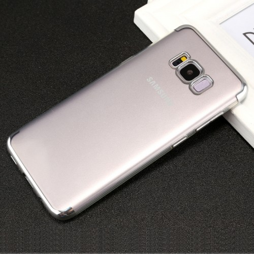 For Samsung Galaxy S8+ / G955 Three Sections Electroplating Side TPU Protective Back Cover Case (Silver)