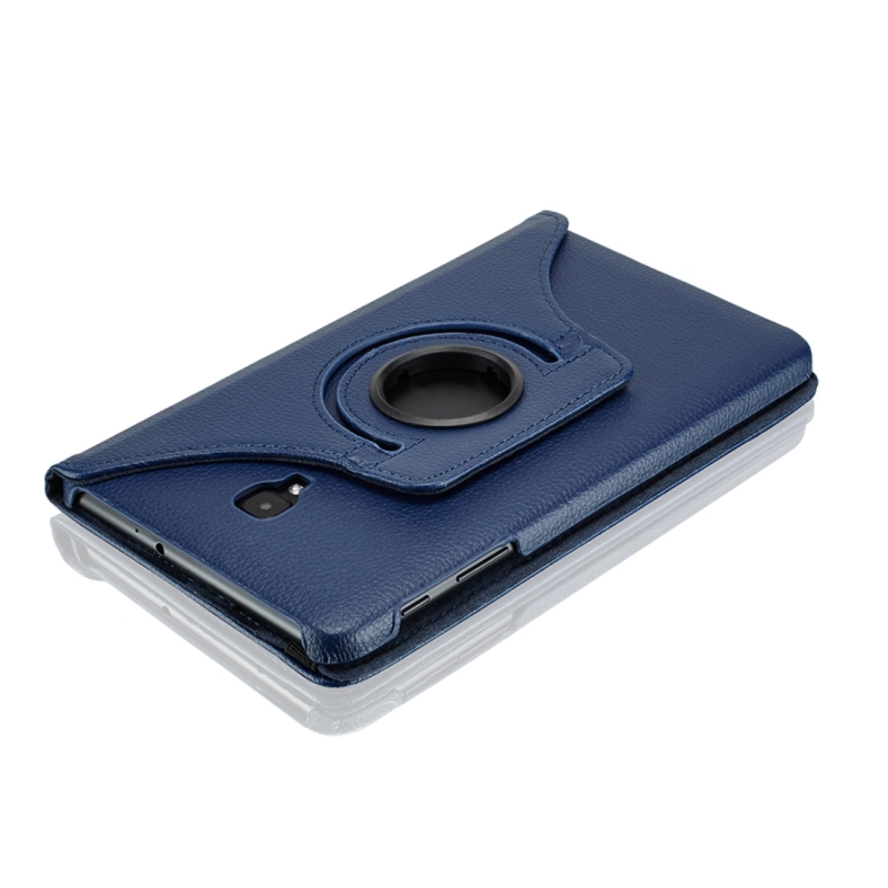 For Samsung Galaxy Tab A 8.0 (2017) / T380 / T385 Litchi Texture Horizontal Flip 360 Degrees Rotation Leather Case with Holder (Dark Blue)