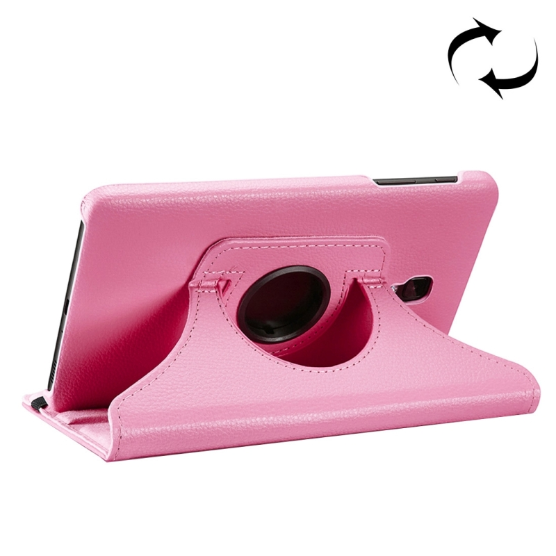 For Samsung Galaxy Tab A 8.0 (2017) / T380 / T385 Litchi Texture Horizontal Flip 360 Degrees Rotation Leather Case with Holder (Pink)