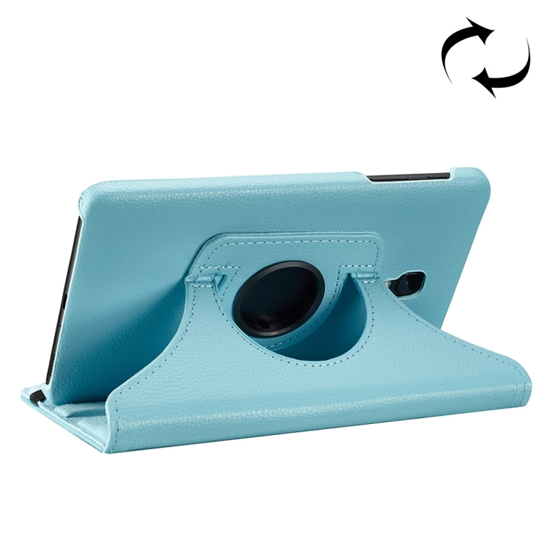For Samsung Galaxy Tab A 8.0 (2017) / T380 / T385 Litchi Texture Horizontal Flip 360 Degrees Rotation Leather Case with Holder (Blue)