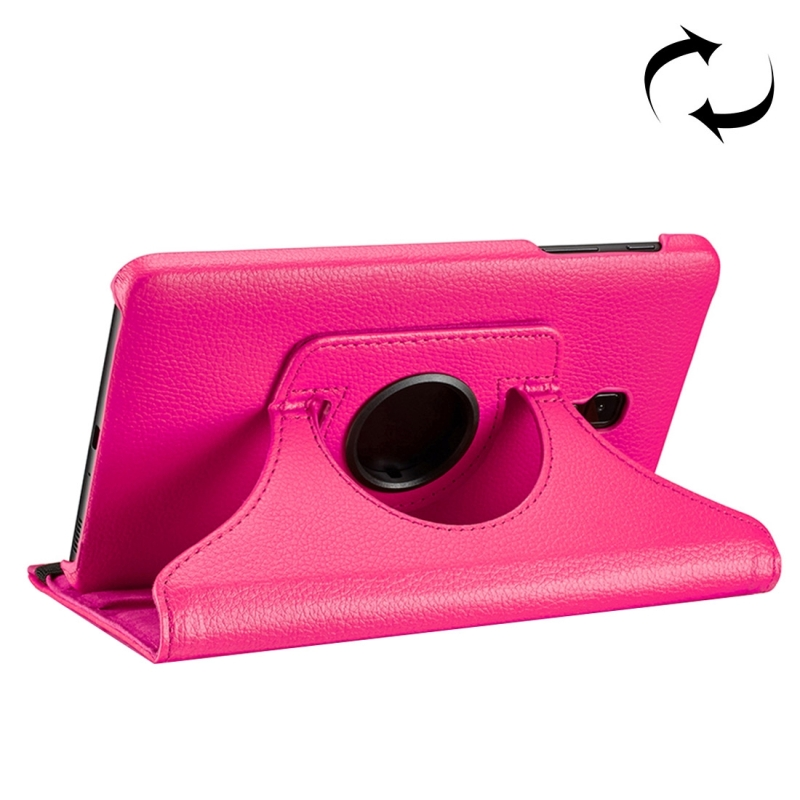 For Samsung Galaxy Tab A 8.0 (2017) / T380 / T385 Litchi Texture Horizontal Flip 360 Degrees Rotation Leather Case with Holder (Magenta)