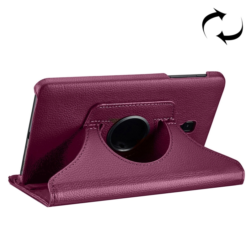 For Samsung Galaxy Tab A 8.0 (2017) / T380 / T385 Litchi Texture Horizontal Flip 360 Degrees Rotation Leather Case with Holder (Purple)
