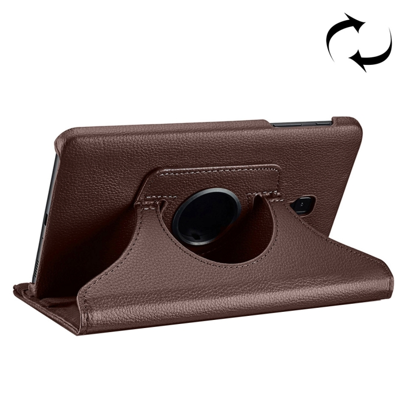 For Samsung Galaxy Tab A 8.0 (2017) / T380 / T385 Litchi Texture Horizontal Flip 360 Degrees Rotation Leather Case with Holder (Brown)