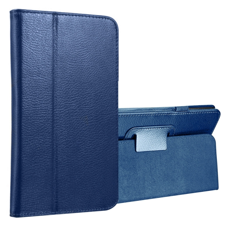 For Samsung Galaxy Tab A 8.0 (2017) / T380 / T385 Litchi Texture Horizontal Flip PU Leather Protector Case with Holder (Dark Blue)