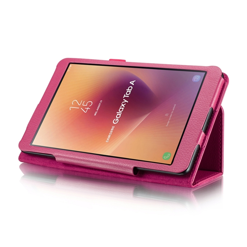 For Samsung Galaxy Tab A 8.0 (2017) / T380 / T385 Litchi Texture Horizontal Flip PU Leather Protector Case with Holder (Magenta)