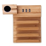Multi-function Detachable Carbonized Bamboo 3 USB Ports Charging Dock Holders Stand Cradle Bracket, EU Plug, AC 110-220V, For iPhone, iWatch, iPad, Tablets, Samsung, Huawei, Xiaomi, HTC and Other Smart Phones, Rechargeable Devices