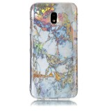 For Samsung Galaxy J3 (2017) (EU Version) Grey Gold Marble Pattern Soft TPU Protective Back Cover Case