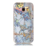 For Samsung Galaxy A3 (2017) Grey Gold Marble Pattern Soft TPU Protective Back Cover Case