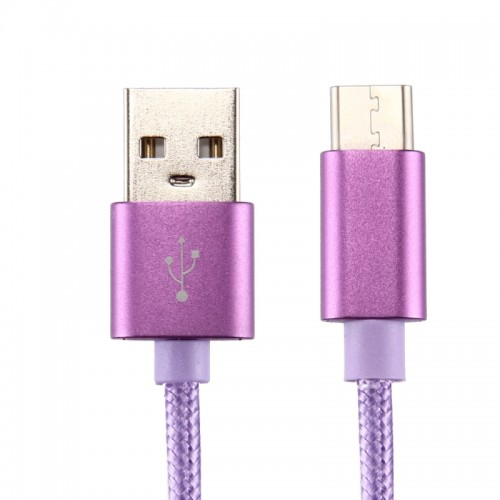 Knit Texture USB to USB-C / Type-C Data Sync Charging Cable, Cable 50cm, For Samsung Galaxy S8 & S8 + / LG G6 / Huawei P10 & P10 Plus / Oneplus 5 / Xiaomi Mi6 & Max 2 /and other Smartphones (Purple)