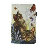 For Samsung Galaxy Tab A 8.0 / T380 & T385 Cats and Butterflies Pattern Horizontal Flip Leather Case with Holder & Card Slots
