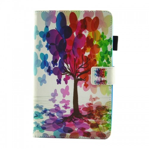 For Samsung Galaxy Tab A 8.0 / T380 & T385 Butterfly Pattern Horizontal Flip Leather Case with Holder & Card Slots