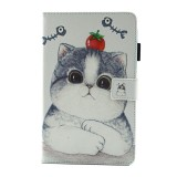 For Samsung Galaxy Tab A 8.0 / T380 & T385 Tomato and Cat Pattern Horizontal Flip Leather Case with Holder & Card Slots