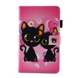 For Samsung Galaxy Tab A 8.0 / T380 & T385 Two Cats Pattern Horizontal Flip Leather Case with Holder & Card Slots